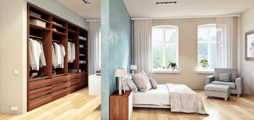 Schlafzimmer mit offener Ankleide und Bett