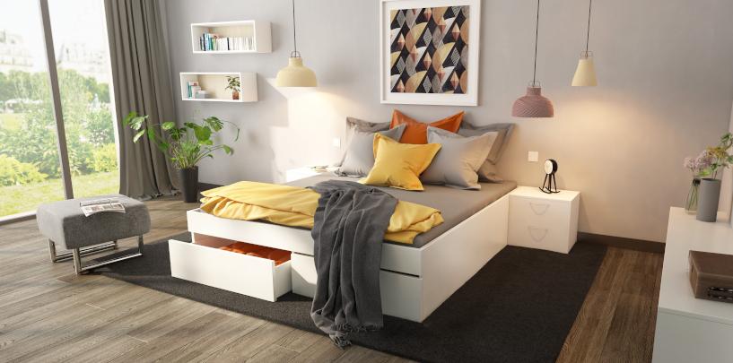 Modell Silea mit geöffnetem Bettkastenauszug über die gesamte Bettlänge