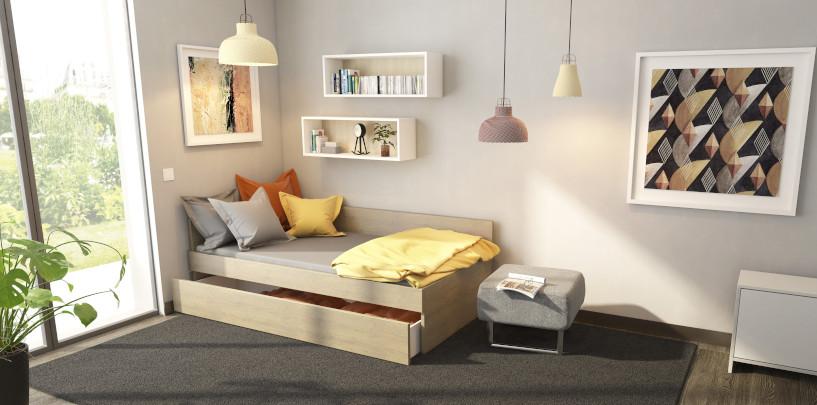 Modell Stilla mit geöffnetem Bettkastenauszug über die gesamte Bettlänge