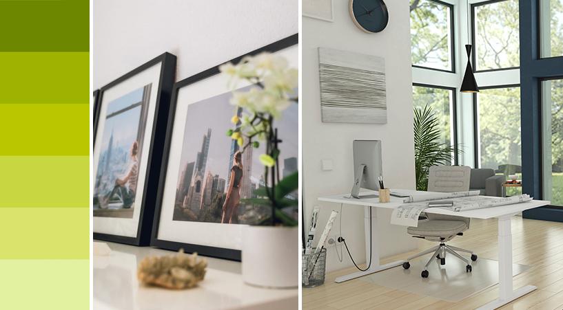 Home Office, grüne Farbskala und Bilder auf einem Sideboard
