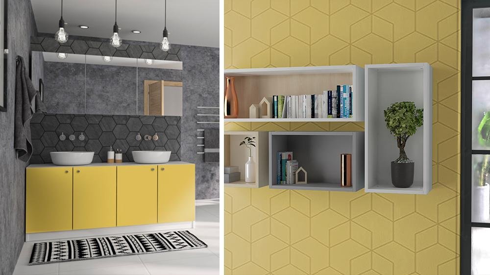 Collage aus einem Badezimmer mit gelben Möbeln und einer gelben Mustertapete an der Wandcubes mit Deko befestigt sind