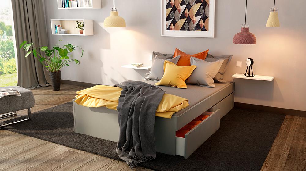 Bett in Anthrazit mit farbigen Akzenten in Gelb und Orange