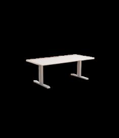 Höhenverstellbarer Schreibtisch In Weiss Mit Silbernem Gestell  Höhenverstellbarer ...